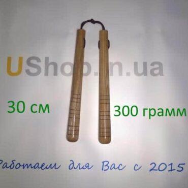 Нунчаки из ясеня 30 см на веревке - шнуре
